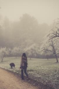 chien, femme, jeune femme,