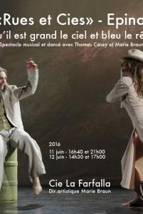 """Affiche de la compagnie La Farfalla, pour le festival """"Rues et Cies"""", à Epinal, pour le spectacle """"Qu'il est grand le ciel et bleu le rêve"""","""